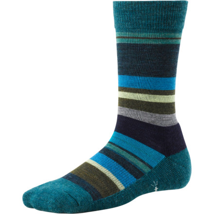 For a quirky, colorful sock made from soft Merino wool, look no further than the SmartWool Saturn Women's Sock. These socks feature a cushioned sole, so you'll be comfy wherever you wander. Be sure to put your feet up at the end of the day to show off these socks' great stripes. - $20.90