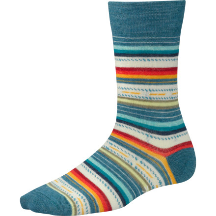 Give your outfit a little extra flavor with the help of the wool and nylon blend SmartWool Women's Margarita Socks. These casual socks employ merino wool to keep your feet comfortable and dry all day long, and merino's natural antimicrobial properties ensure crowd-friendly feet at this evening's sushi dinner. SmartWool gave a the Margarita socks a touch of spandex for a close, comfortable fit. - $19.90