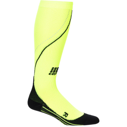 Fitness You've worked too hard to have it all end by getting run over by a bus: the CEP Men's Progressive Night Run Compression Socks boast eye-catching neon green and reflectors for low-light visibility. And of course they have the graduated medi compression for which CEP is known. Amp up your performance and reduce injury and recovery timeand do it whenever, wherever, even after sundown. Strong, thin-knit nylon and stretchy spandex microfiber breathes and manages moisture for optimal performance Graduated medical-grade compression stimulates blood flow for improved performance, reduction of injury, and shorter recovery time Air channels help keep you cool and dry Achilles tendon protector helps aid this vulnerable area Anatomic fit and foot padding provide all-day support, impact-reduction, and maximum comfort Extra-flat toe seam prevents hot spots or chafing Odor-reducing silver ions help keep feet fresh  Neon color and reflectors add visibility in flat light or after the sun sets - $59.95