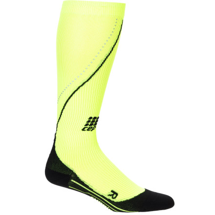Fitness Life doesn't end when the sun sets; it only gets a little darker. Hence the neon and reflective CEP Women's Progressive Night Run Compression Socks, with all the benefits of graduated medi compressionimproved circulation and performance, reduced risk of injury, reduced recovery timeplus added visibility so you can run into the night. And think how stylie you'll look at the next midnight or 24-hour race. Strong, thin-knit nylon and stretchy spandex microfiber breathes and manages moisture for optimal performance Graduated medical-grade compression stimulates blood flow for improved performance, reduction of injury, and shorter recovery time Air channels help keep you cool and dry Achilles tendon protector helps aid this vulnerable area Anatomic fit and foot padding provide all-day support, impact-reduction, and maximum comfort Extra-flat toe seam prevents hot spots or chafing Odor-reducing silver ions help keep feet fresh  Neon color and reflectors add visibility in flat light or after the sun sets - $59.95