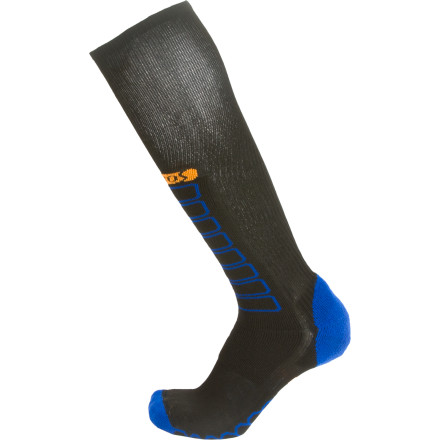 Ski In the constant quest to refine your skills on the hill, the Ski Compression Sock from EURO Socks adds lightweight comfort and precision without cutting off your blood circulation. The patented gradual compression from calf to toe means that your blood can freely circulate and help support your muscles, prevent cramping lactic acid build-up, and improve oxygen delivery for enhanced muscle performance. - $28.95