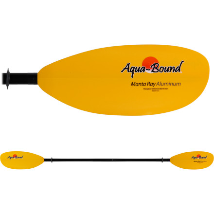 Kayak and Canoe If you're looking for a durable kayak paddle that won't shatter when you accidentally bang it against a rock, consider the Aqua-Bound MantaRay Aluminum Shaft 2-Piece Paddle. You also like to get a lot of power out of each of your strokes, which is why this paddle has a beefy construction and a cross-sectional shapeboth of these combine to create instant bite each time you dip your blade into the water. You can choose either a 60-degree feather angle or no angle (unfeathered) depending on your style. This paddle comes apart for easy transportation to the ocean or river. - $89.95