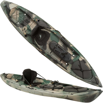 Kayak and Canoe You have one mission, and that mission is to bag as many fish as possible. Slide into the Ocean Kayak Trident 11 Angler Kayak with Rudder, load all your gear inside, and paddle out to your favorite fishing hole with ease. A grip of angler-specific outfitting holds your rods, transducer, and small essentials, and the included rudder system gives you easy control over your boat. Ocean Kayak crafted this boat to offer weight capacity, stability, and speed that handles everything from an early morning in the ocean to a late night paddle out into blustery conditions on the pond. - $983.20