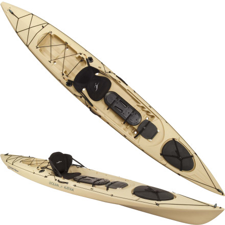 Kayak and Canoe Ocean Kayak designed the Trident 15 Angler Sit-On-Top Kayak, the longest of its Trident series boats, based on the feedback of a fleet of professional kayak fishermen. You get the open-water efficiency of a sea kayak, the comfort and stability of a touring boat, and the maneuverability and outfitting of a dedicated fishing boat. Move swiftly and silently across the water, hit your fishing hole with all your gear close at hand and, with a little bit of luck, land that prize-winning catch. - $1,199.99