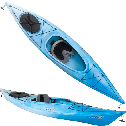 Kayak and Canoe Climb into the Necky Kayaks Manitou Sport Kayak and paddle down slow-moving rivers, across open lakes, or along the ocean for some close-to-shore coastal exploration. The short length, soft chine lines, and molded-in rear skeg make this hull maneuverable in moving water and stable in rough, windy conditions, and they help it track straight for efficient paddling over long distances. Novice paddlers will appreciate the comfortable, adjustable seating, while intermediate paddlers will love the fact that there's more than 60 liters of stern storage for all sorts of extra gear. - $779.99