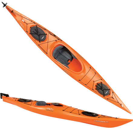 Kayak and Canoe Deploy the rudder on the Necky Looksha 14 Kayak and paddle easily through narrow, twisting marshes. The rudder helps with quick turning and straight tracking as you embark on a windy day paddle along the coast. Multiple pivot points in the back of the XtraComfort seat adjust for lumbar support, moisture-resistant cushioning pads your butt, and thigh braces keep the gunnel from digging into your thighs when you shift leg position. The Lookshas high bow volume helps deflect water when conditions get choppy, so youre less likely to end up with a lap full of water. - $1,349.99
