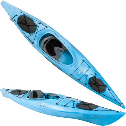 Kayak and Canoe Necky designed the Looksha 12 SI Kayak for small-to-medium build paddlers. Its shorter, narrower hull fits kids and folks with lighter frames and makes it easy to handle. Let Lumberjack-Larry steer his barge-sized kayakyoull be paddling circles around him in your Looksha. - $892.49
