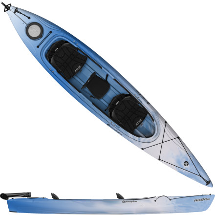Kayak and Canoe Outfitted with luxuriously comfortable seating for two and a rudder, the Perception Prodigy II 14.5 Tandem Kayak lets you share a relaxing morning paddle with whomever you choose. A sleek deck design has a hatch for storage, adjustable seating, and a roomy cockpit. Molded handles make it a breeze to carry the Prodigy, and when you hit the water, you'll glide with speed, thanks to the efficient and stable hull shape that cuts through the water quietly so you can enjoy a little up-close wildlife viewing. - $1,036.15