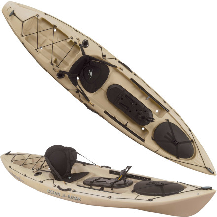Kayak and Canoe Quietly sneak into your favorite fishing hole when you're paddling the Ocean Kayak's Trident 11 Angler Sit-On-Top Kayak. This sleek fishing boat is maneuverable enough to navigate tight coves and shallow water, and it's stable enough to give you the confidence you need to make powerful casts in any direction without fear of tipping over. Flush-mounted rod holders, cockpit-mounted tackle storage, and a transducer-compatible scupper hole sweeten the deal for dedicated anglers and weekend warriors alike. - $999.99