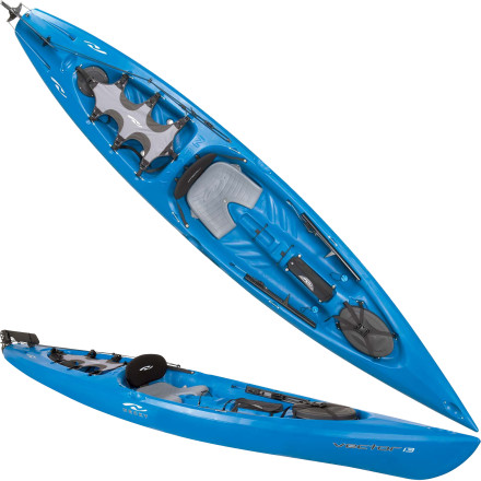 Kayak and Canoe Necky remembered that it's all about fun when they designed the Vector 13 Kayak. Stability is great, but a kayak shouldn't handle like a yacht. Even a sit-on-top. The Vector is a fun, maneuverable boat that tracks well and gives you enough stability to fight the good fight when you hook the big one. The added rudder gives you added control to make this a great all-around rec boat. - $977.49