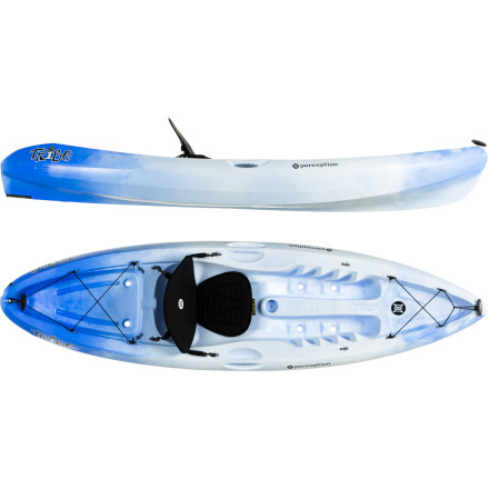 Kayak and Canoe The sit-on-top Perception Tribe 9.5 Kayak was designed for the liberated paddler who wants to feel the ocean breeze wafting across the skin or the cool river water tickling the feet. With a rockered wave-ready bow and a wide, stable hull, this boat doesn't discriminate between lazy rivers or action-packed seas. And its ergonomic seat design will keep you comfy and energized, no matter where you float. - $381.65