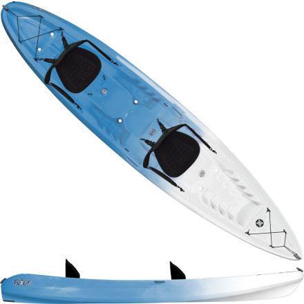 Kayak and Canoe The Perception Tribe 13.5 Sit-On-Top Kayak has enough space for three, so Mom, Dad, and Junior can paddle out to the reef together for an afternoon of snorkeling. The wide, stable hull allows the Tribe to perform in everything from ocean surf to meandering rivers, while the self-bailing scupper tubes keep the deck free of water. Secure your snorkeling gear with the bungees at the bow and stern, settle into the comfy Harmony sit-on-top seats, and let the adventure begin. - $551.65