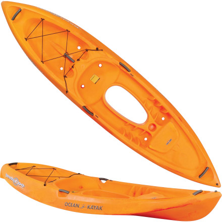 Kayak and Canoe Toss out the snorkel and ditch the goggles, because the Ocean Kayak Peekaboo Tandem Sit-On-Top Kayak has a built-in viewing window so you can look into the water below your boat. An adult and a child fit comfortably in the cockpit of this boat so you can share the experience. Take this easy-paddling boat down to the lake or the ocean and enjoy the view. - $849.95