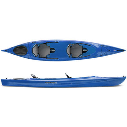 Kayak and Canoe Marvel at the joy you'll have when you and another lucky paddler take off in the Liquidlogic Marvel 14.5 Tandem Kayak. Removable seats and padded thigh braces offer added comfort so you and a partner can focus on the peacefulness that comes from being on the water. A sleek, stable shape lets the Marvel slice through choppy water while a wider, shorter bow offers speedy paddling when its time to take your cadence up a notch at the smell of the barbie back on shore. - $1,098.95