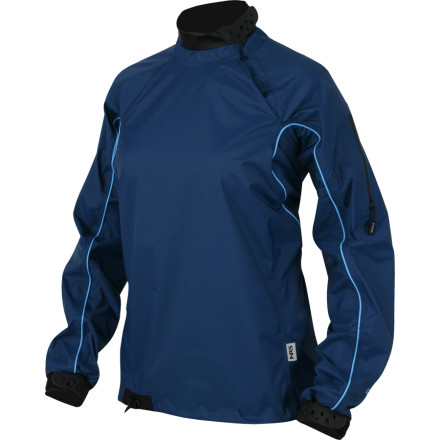 Kayak and Canoe Toss on this rugged, waterproof breathable paddling jacket, and tear up icy-cold whitewater champagne while you stay bone-dry and sweat-free. NRS kept this splash jacket simple\227hook-and-loop wrist and neck closures batten down the hatches, and a shock cord at the waist keeps the hem locked down. Burly nylon takes a beating in the river while you roll, eddy out, and work the current. Water wont get by the fully taped seams or the shoulder accessory pockets water-resistant zipper, so grab your paddle and dig in . - $66.47
