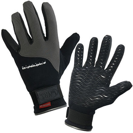 Kayak and Canoe The NRS Hydroskin Gloves pack a soft, warm ThermalPlush fleece lining inside their neoprene shells to increase your comfort on cold-weather river trips. A DWR coating gives the Hydroskin Gloves excellent splash protection, so your hands stay dry until you completely submerge them in water. - $39.95
