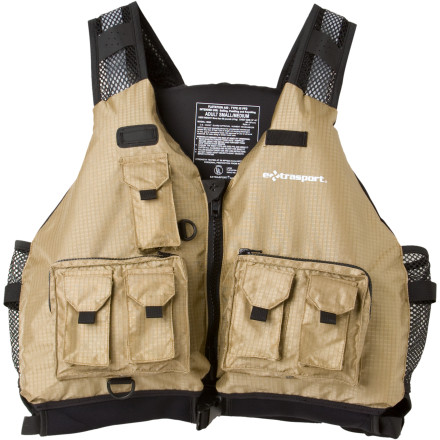 Kayak and Canoe Extrasport made the Striper Personal Flotation Device with mesh on the shoulders, sides, and lower back so you don't overheat, and seven pockets on the front for your fishing gear. While some PFDs have stiff foam underneath, the Striper's GlideFit Cartilage system allows the panels to glide on top of one another. This means the Striper feels less blocky and more comfortable. One pull of the side webbing adjusts this Striper Extrasport life vest's sides and shoulders, so you can adjust quickly, hop in your canoe or kayak, and paddle out to where the fish are biting. - $119.95