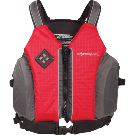Kayak and Canoe If you prefer the bulk of a life vest to be at the front and back of your torso rather than your shoulders, then you'll love the Extrasport Vortex Personal Flotation Device. Once on, the Vortex's slightly cushioned, adjustable shoulder straps hold the vest in place while you pull, clip, and tighten the multiple adjustment straps to get the most precise, comfortable fit. - $89.95