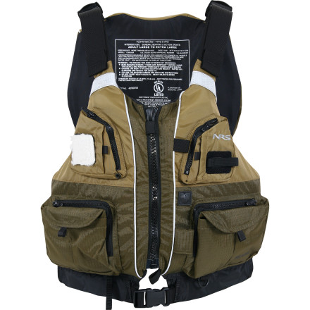 Kayak and Canoe NRS added ten front pockets to the Chinook Personal Flotation Device, so you can keep every speck of tackle available on your next fishing trip. Designed for those who prefer to fish from a kayak or raft, the Chinook Personal Flotation Device provides 16lb 8oz of flotation incase you end up in the water instead of pulling the fish into your boat. NRS concentrated the flotation on the front of this angler's PFD to make it more comfortable when you sit in a highback seat. - $69.97