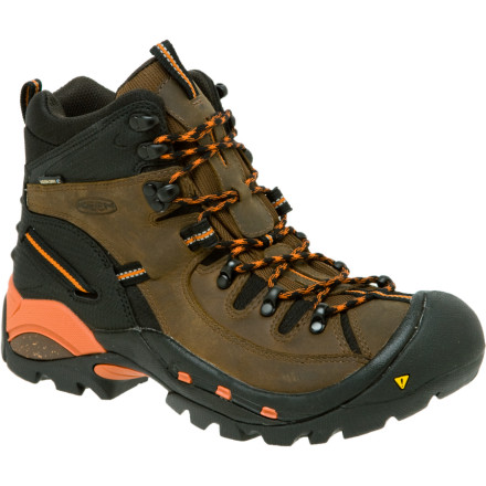 Camp and Hike Hiking long trails takes lots of gear and sturdy footwear like the KEEN Men's Oregon PCT Hiking Boot. This burly leather boot includes a full-length TPU plate to give you all the support for carrying a 60-pound pack. A KEEN.DRY waterproof breathable insert keeps your feet nice and dry when it starts pouring rain on day six of your trip. KEEN used a combination of leather and synthetic materials to make the upper tough enough for serious trails with enough flexibility to keep you going for miles and miles. - $179.95