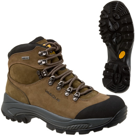 Camp and Hike Keep your feet dry and comfortable during a week of wet weather with the Vasque Men's Wasatch GTX Hiking Boots. Their waterproof breathable Gore-Tex inserts keeps all moisture outside where it belongs, even when the rain pours non stop and the trail becomes a mud trough. The Vibram Contact soles provide amazing traction in such sloppiness, and the leather uppers clean up nicely at the end of the trip. Vasque gave the Wasatch GTX Hiking Boots stiff Flexframe 3 shanks to help you support your pack's weight and to keep your feet as comfortable as possible. - $166.46