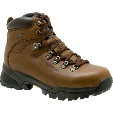 Camp and Hike If your next backpacking trip includes rugged terrain, long days, and inclement weather, head out with the durable support of the Vasque Mens Summit GTX Hiking Boot. Thanks to a full-grain leather upper backed by a Gore-Tex waterproof breathable membrane, youre feet will carry you to camp in bone-dry comfort. The nylon knit lining helps wick moisture, and Vasque added DryTech footbeds and molded polyurethane shock pads to cushion and protect your dogs on rough trails. When the weather rolls in and the path gets ugly, the Summits lugged Vibram sole grips even the slickest of surfaces. - $182.71