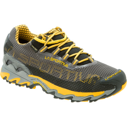 Fitness For the wet, uneven trail conditions of late fall, mid-winter, and early spring, the La Sportiva Mens Wildcat GTX Trail Running Shoe gives you full waterproof breathable protection on a stable cushioned platform. The supportive yet flexible Airmesh upper features a TPU film to resist moisture and a Gore-Tex membrane to ensure it stays out. A molded nylon shank stabilizes your foot over rough terrain, and the single-density midsole adds cushioning for long days. La Sportiva finished off the Wildcat with a Frixion sticky rubber outsole and its Impact Brake System, which uses opposing lugs to slow your speed on steep descents. - $104.97