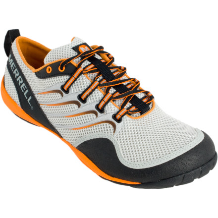 Fitness Merrell's Barefoot Collection presents the Men's Barefoot Trail Glove Shoe. Merrell designed this shoe so that it encourages your foot to find a natural landing place (midfoot rather than heel) for less impact, a more aligned stride, and in the end, a stronger body core. - $87.96