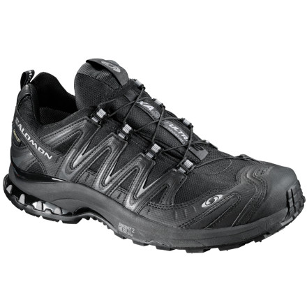 Fitness Tighten the Salomon Mens XA Pro 3D Ultra Trail Running Shoes for your sprint-length or multi-day adventure race. Seam-sealed waterproof breathable Gore-Tex XCR membranes keep your feet dry and fresh, while triple-density EVA midsoles absorb and disperse impact, which reduces jarring throughout your body. - $159.95