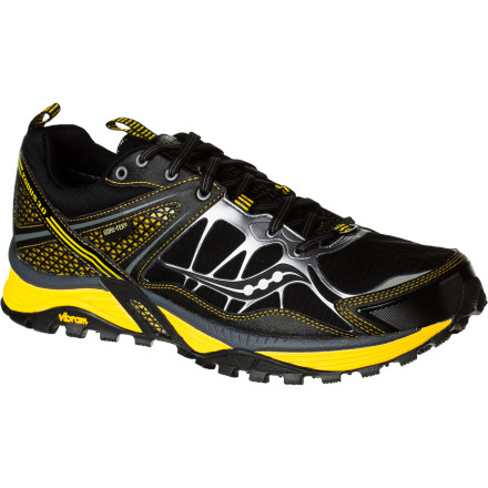 Fitness Weighing in at just under 13 ounces the Saucony Men's ProGrid Xodus 3.0 GTX Trail Running Shoe is a little beefier than some other trail shoes, but for runners who want ultimate weather protection and neutral cushioning, that's OK. The Pro-Lock upper encases your foot in support, the waterproof breathable Gore-Tex membrane keeps your toes dry in wet weather, and plenty of midsole cushioning soaks up nasty terrain underfoot. Toss in a grippy Vibram outsole and you'll never have an excuse to ditch your training run because the trail conditions aren't quite right. - $129.95
