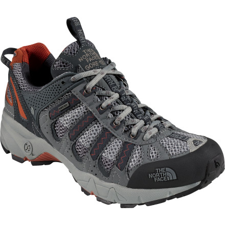 Fitness Designed for overpronators, The North Face Ultra 105 GTX XCR Shoe is flexible and comfortable like a shoe but has durable, burly tread to devour trails like a boot. Its highly breathable upper helps vent excess foot sweat, and a waterproof breathable Gore-Tex membrane keeps your toes dry as you hike over wet, muddy terrain. - $77.97