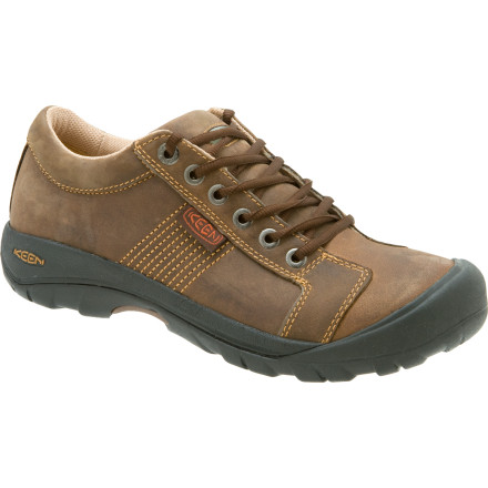 When it precipitates, grab the Keen Men's Austin Shoes and head to class without getting your feet wet. The waterproof leather uppers ward off rain and snow, so your dogs stay dry. The moisture-wicking synthetic lining moves perspiration away from your foot, and the Classic Oxford Lace Design gives you an intelligent look. - $109.95