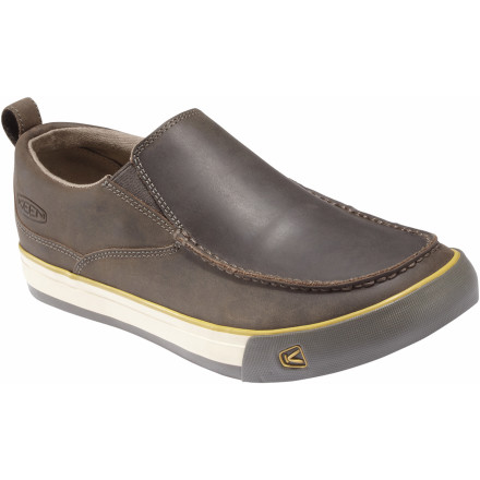When you slide your feet into the KEEN Timmons Slip-On Shoe you'll be instantly transported to a land of milk and honey (or beer and pretzels). Soft nubuck leather upper is classy and easy to clean should you spill beer or honey on it. A vulcanized eco-friendly construction and natural gum rubber reduce the environmental impact of this comfy casual shoe. The removable KEEN.CUSH PU and memory foam footbed support the sole of your foot for all day comfort. - $58.49