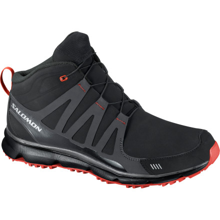 Camp and Hike When marching across campus to make it to class on time requires you to brave wet and cold conditions, grab the Men's Salomon S Wind Mid CS Shoe for waterproof protection that doesn't compromise on athletic style. The Climashield membrane provides full waterproof protection and the quicklace system gets you out the door speedy-quick. - $41.99