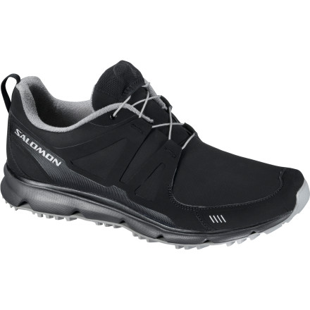 Camp and Hike Never mind the cold, wet storm that just blew into town because your Salomon Men's S Wind CS Shoe protects your foot against heavy wetness and bitter chills. Inside this lightweight athletic shoe lies a membrane that offers waterproof protection and a fleece liner that adds warmth to any cold-weather workout. This is a highly flexible and capable shoe you can wear when you're pushing your heart rate or kicking back at home in the early spring or fall. - $77.97