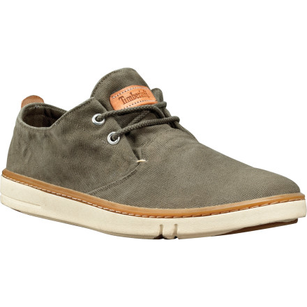 The Timberland Earthkeepers Hookset Handcrafted Oxford Shoe is just the thing for the earth-friendly and the hot-of-foot. The organic cotton canvas upper is cool and breathes well, and the natural latex footbed and outsole absorb shock to reduce fatigue if you're on your feet all day. The Hookset even has a siped sole to keep you from hydroplaning if you're caught in a downpour. - $51.97