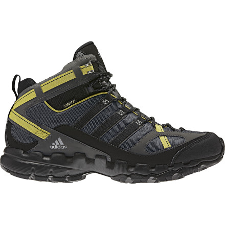Camp and Hike The Adidas Men's AX 1 Mid GTX Hiking Shoe takes the comfort and durability you've come to trust to a new level. Maybe 'altitude' would be a better word. This waterproof, breathable shoe achieves optimal comfort through the use of a Gore-Tex membrane, and a molded sockliner helps augment a custom fit. Adidas outfitted this mid-cut hiker with a lightweight EVA midsole for targeted cushioning and relief on typical pressure points. - $121.46