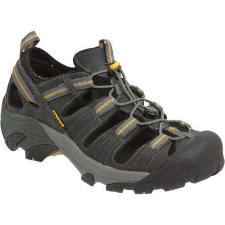 Camp and Hike If your foot just cannot seem to get enough air when you hike, try on the Keen Men's Arroyo Hiking Shoes. Their unique open design guarantees to keep you sweat free. Take on the burliest trails while the patented toe protection keeps those tootsies in one piece. Loose rock, slick mud, or wet surfaces are no match for the 4mm multi directional lugs. Keen gave the Arroyo Hiking Shoes a removable metatomical footbed so your feet stay comfy and cushioned while you hike the day away. - $99.95