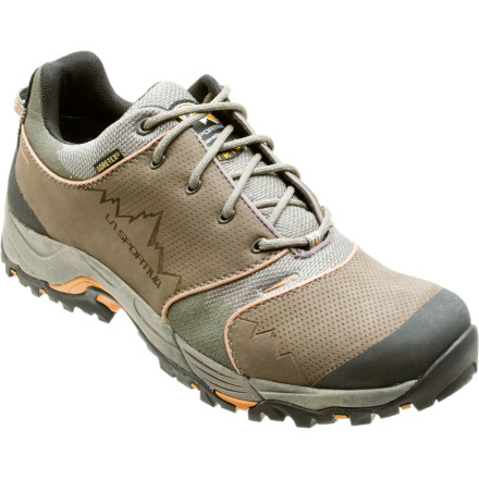 Camp and Hike The La Sportiva Mens Fc Eco 2.0 GTX Hiking Shoe takes on day hikes and light backpacking adventures with a casual look that works for everyday wear as well. Made with eco-friendly materials and a Gore-Tex insert, this low-cut shoe lets you cruise through puddles and slush while helping to even your score with Mother Nature. - $127.46