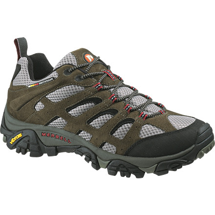 Camp and Hike Whether you hit up some red rock on your mountain bike or hike through a sun-drenched canyon, the Merrell Men's Moab Ventilator Hiking Shoe keeps your feet cool, comfortable, and hungry for more. Merrell constructed these shoes with leather strapping supports to protect the breathable mesh uppers that supply your feet with fresh air on those oven-hot desert hikes. An Air Cushion midsole absorbs shock on jarring downhill jaunts, and a compression-molded EVA footbed provides the support you need on varied terrain. Merrell recommends wearing the Ventilator shoe with a light to midweight sock. - $89.95