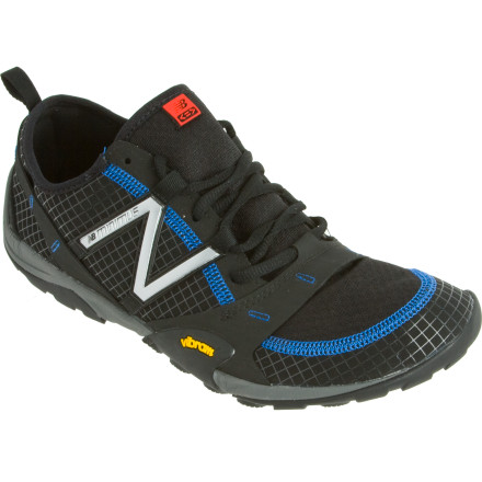 Camp and Hike Inspired by Good Form Running and designed to be a multi-sport shoe that you can wear with or without socks, the New Balance Men's MO10 Minimus Hiking Shoe lets you navigate difficult trails all year long. Made with a minimalist, water-resistant upper, an Acteva midsole, and a Vibram outsole, the Minumus brings you the benefits of barefoot running without exposing your toes to trail shrapnel. New Balance used its MNL-1 last with a 4mm heel-to-toe drop and a broad forefoot to promote natural forefoot splay for runners with midfoot-striking gaits. - $114.95