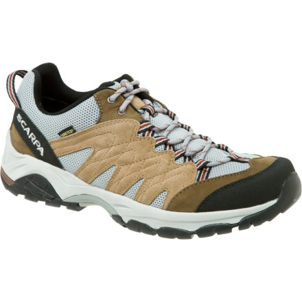 Camp and Hike Whether you hit the muddiest puddle-infested trails or your furry hiking buddy just slobbers a lot, the Scarpa Mens Moraine GTX Hiking Shoe keeps you dry and comfortable. The Moraines Gore-Tex insert provides guaranteed waterproof protection. - $74.97