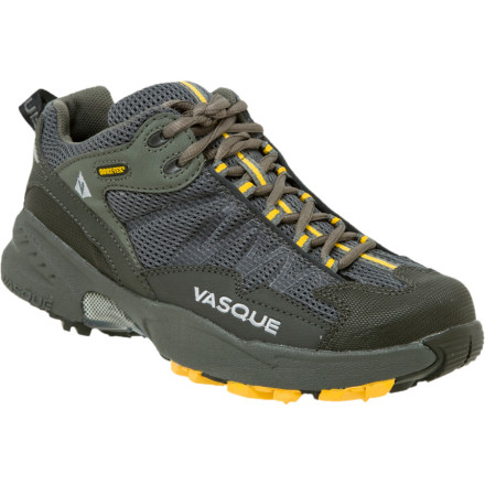 Camp and Hike Cushioned support from the dual-density midsole as well as protection and stability from the rigid TPU plate is what makes the Vasque Mens Velocity GTX Hiking Shoe ready for slow hikes or fast trail runs. Push your personal performance knowing that the Mako sole grips mud, rocks, and dusty trail surfaces while the Gore-Tex insert is a totally waterproof barrier for your allows heat and moisture out feet. - $84.47