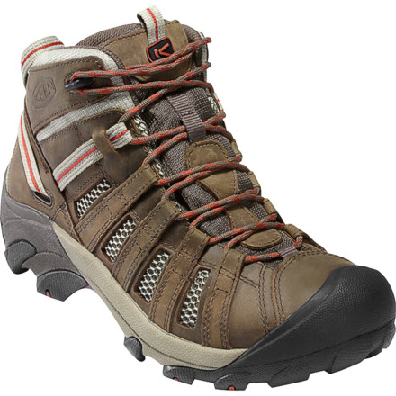 Camp and Hike The KEEN Men's Voyageur Mid Hiking Boots give you the support and comfort to breeze over rugged terrain like it's nobody's business. When you're hopping between boulders, this KEEN boot's mid-high cut stabilizes your ankle and its ESS shank adds rigidity and support. The aggressive outsole's multi-directional 4mm lugs provide exceptional traction over rugged terrain, while a dual-density compression-molded EVA midsole guides and cushions your feet. KEEN added lots of vent windows to circulate air, and incorporated removable metatomical footbeds so you can easily throw in your custom footbeds. - $119.95