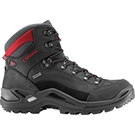Camp and Hike Get incredible comfort out of the box and many miles down the trail from the Lowa Men\s Renegade GTX Mid Hiking Boot. This Lowa bestseller combines a host of performance features with a Gore-Tex waterproof breathable protection from wet, muddy trails. - $197.96