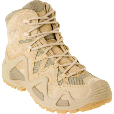 Camp and Hike Lowa designed its Zephyr Desert Mid Boot to support your foot over dry, rugged, and unpredictable terrain. A PU Monowrap frame provides stability and and Cross rubber outsole lends traction so you can feel the trail and obtain better control over the roughest terrain in the west. - $155.96