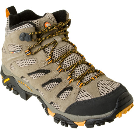 Camp and Hike Merrell set out to build a quality hiking boot with the soul of a trail running shoe, and the result was the Moab Ventilator Mid Hiking Boot. Featuring the durability of a combat boot and breathability that will remind you of your flip-flops, the Moab Ventilator offers a hybrid design for aggressive, high-octane hikers. - $99.95