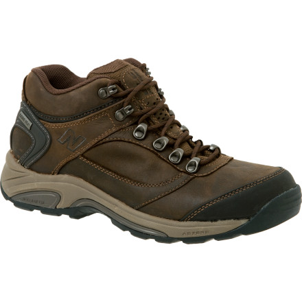 Camp and Hike New Balance designed the Men's 978 Hiking Shoe for rugged on-trail strolls (and full-on long, up-and-down hikes). Tough nubuck leather with a waterproof breathable Gore-Tex membrane fends off the elements and still lets perspiration escape. Sturdy N-Durance rubber outsoles offer excellent footing, while Azorb cushioning inside provides shock absorption. And New Balance even built its Rollbar technology into the shoe, which means you get extra lateral support and stability. For boosted comfort, a dual-density collar cushions the foot in the boot's interior. - $123.96