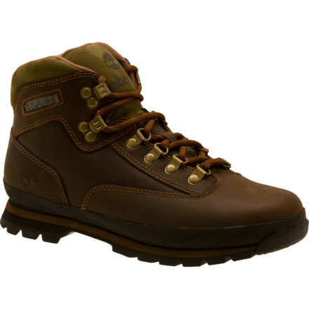 Camp and Hike The leather workhorse known as the Timberland Euro Hiker Boot marches through weekend backpacking trips, construction work, pub crawling, and everything in between. The durable full-grain leather upper repels moisture and blemishes with the help of a rubber rand in high-impact areas, so you can work hard through the day and seek out Miss Right at night. A removable Orthotic footbed and dual-density EVA midsole cushion the feet you stand on for eight hours at the job site, and a cushioned collar and tongue support your ankles for backpacking or carrying heavy tools. If you balance steel beams for a living or traverse sketchy goat paths on your days off, the Trail Grip rubber keeps you on course and alive to live another day. - $77.97