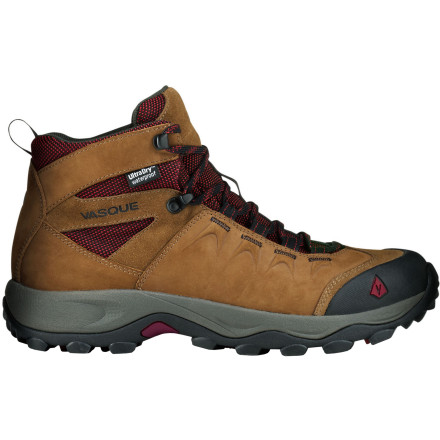 Camp and Hike Anyone who says walking isn't exercise clearly hasn't tried to put a few mountain miles underfoot. The Vasque Vista WP Hiking Boot offers the foot the support it needs during aerobic alpine adventure. Classically styled, the Vista WP features an upper comprised of nubuck and abrasion-resistant mesh to create a comfortable, breathable, durable layer between your foot and the elements. Meanwhile, underfoot, a Vasque Quest sole gains traction on the many types of terrain you explore. Whether you get stuck in the rain or just stuck on a puddle-riddled trail, Vasque's proprietary UltraDry waterproofing system helps keep you from slogging extra water weight back to camp. - $103.96